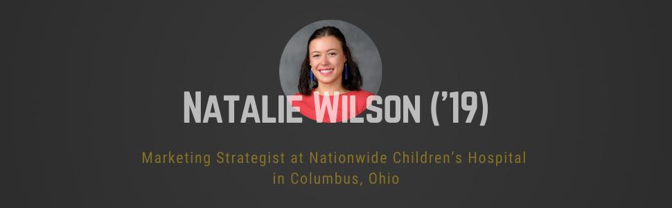 Black rectangle with circle headshot of Natalie Wilson