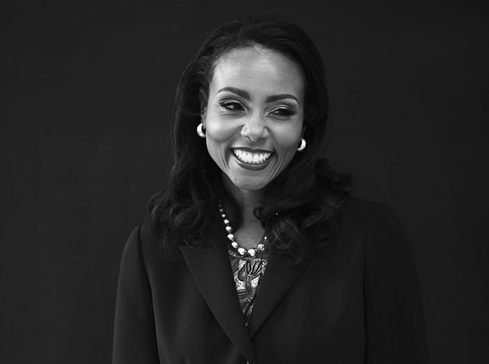 Tycely Williams head shot photo in black and white