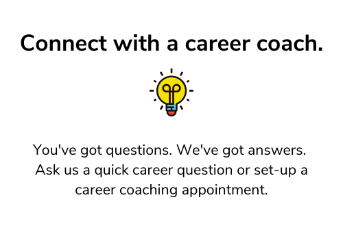 Connect with a career coach and icon of a light bulb