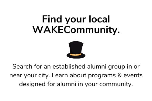 Find your local WAKECommunity with an image of a black/gold top hat
