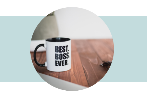 """Mug on desk with the words """"Best Boss Ever"""" printed on it"""