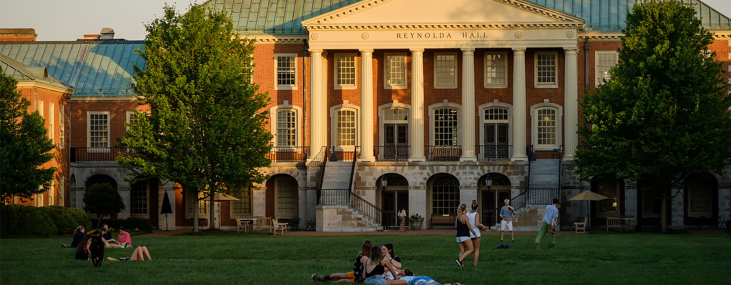 Wake Forest students enjoy a warm spring evening on Hearn Plaza