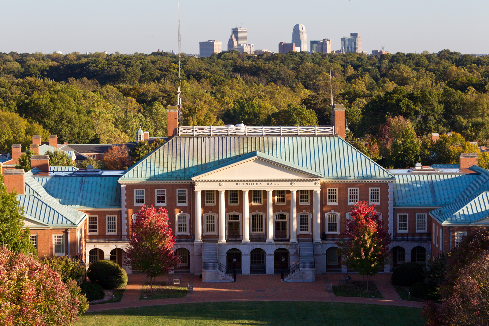 Winston-Salem Skyline from Campus, Reynolda Hall, Hearn Plaza, The Quad, Aerial Photo