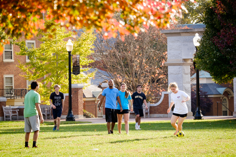 WFU Students Play Soccer on Hearn Plaza