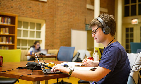 Students participate in WakeHacks, a 24-hour hackathon, in ZSR Library