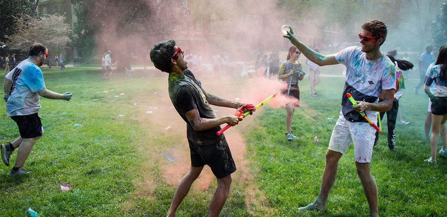 Wake Forest students celebrate Holi, the ancient Hindu festival of color, on Manchester Plaza