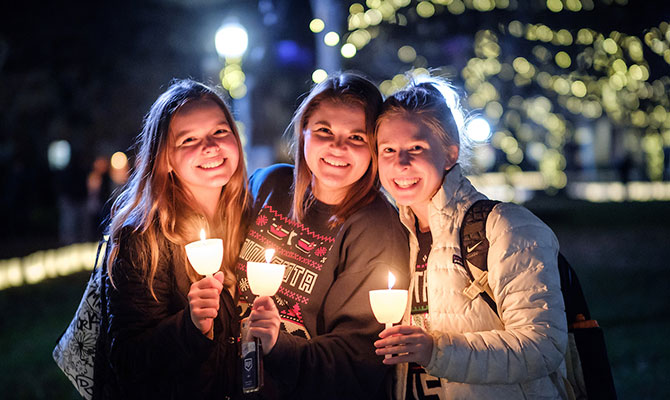 Wake Forest students participate in the Lighting of the Quad ceremony on Hearn Plaza