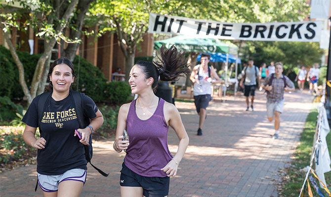 Members of the Wake Forest community run laps around Hearn Plaza to raise money for the Brian Piccolo Fund for cancer research