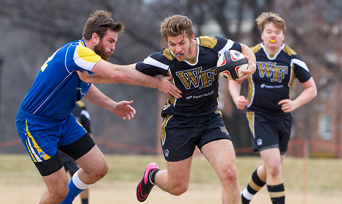 Wake Forest students play intercollegiate rugby at a tournament on campus