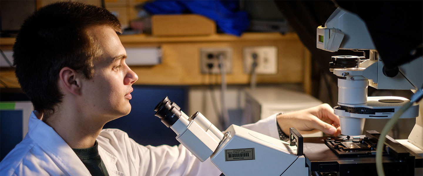 Wake Forest biophysics major works at an inverted optical microscope in a lab in Olin Hall