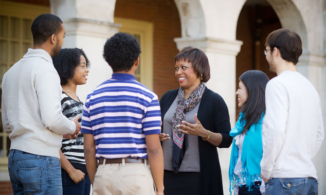 Barbee Oakes, Assistant Provost for Diversity and Inclusion, Talks with Students, Matt Williams, Outside of Reynolda Hall