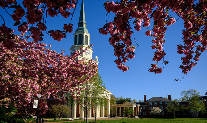 Cherry blossoms on Hearn Plaza frame Wait Chapel on the campus of Wake Forest University