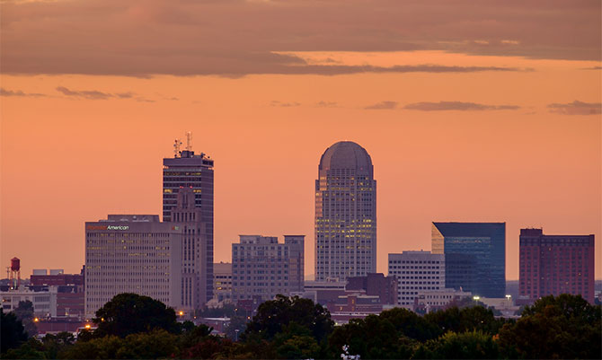 The skyline of Winston-Salem as seen at dawn