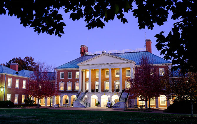 Reynolda Hall at dusk, on the campus of Wake Forest University