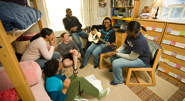 Students in a residence hall at Wake Forest