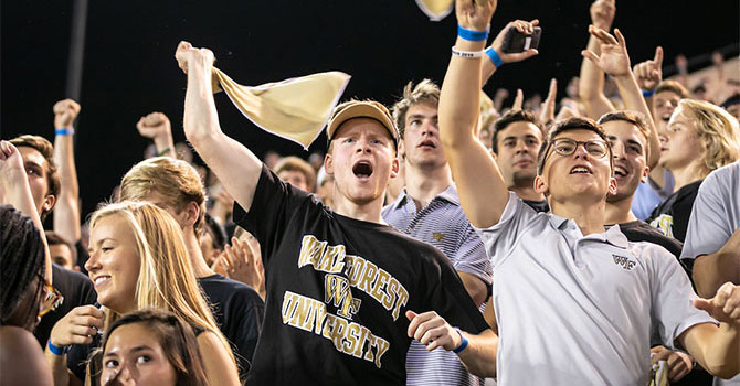 Fans at a WFU football game