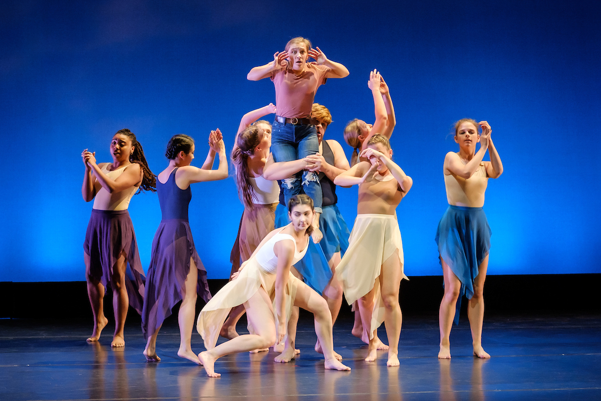 The Wake Forest dance company holds the final dress rehearsal for the Fall Faculty & Guest Artist Dance Concert on the Tedford Stage in Scales Fine Arts Center