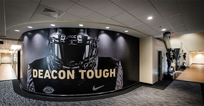 Photographs inside the new football offices and team rooms in the Sutton Sports Performance Center,