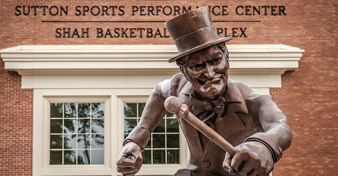 A statue of the Demon Deacon stands outside the new athletics facilities on the campus of Wake Forest University