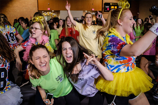 Wake Forest students raise money for cancer research during Wake n Shake, a 12 hour dance marathon in the Sutton Center gym