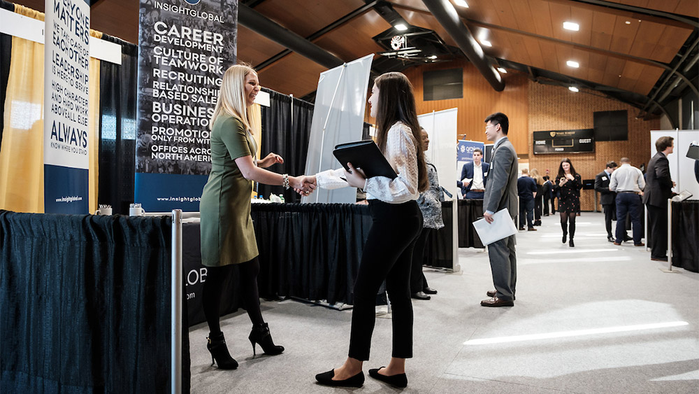 Wake Forest students meet recruiters at the annual career fair, sponsored by OPCD