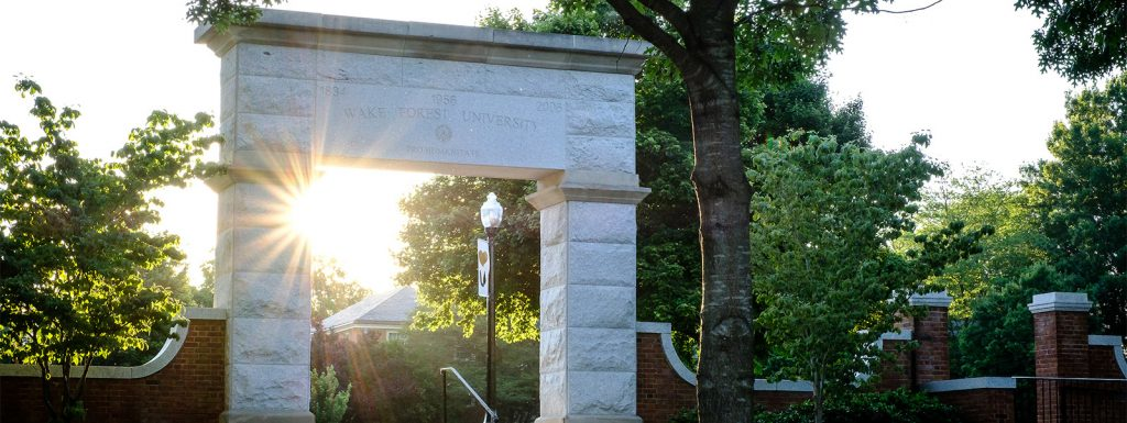 The stone arch to Hearn Plaza, on the campus of Wake Forest University