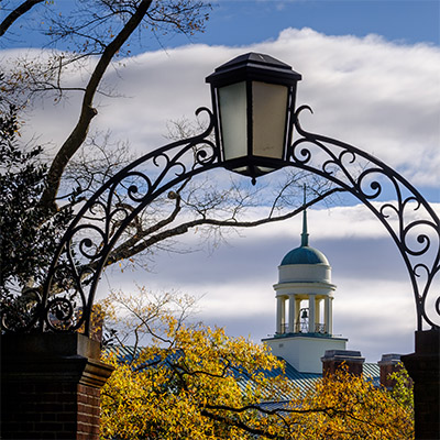 The cupola of the ZSR Library on a fall day at Wake Forest