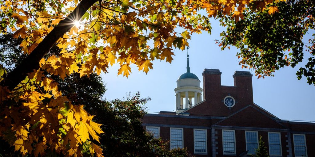 Fall color decorates the Wake Forest campus