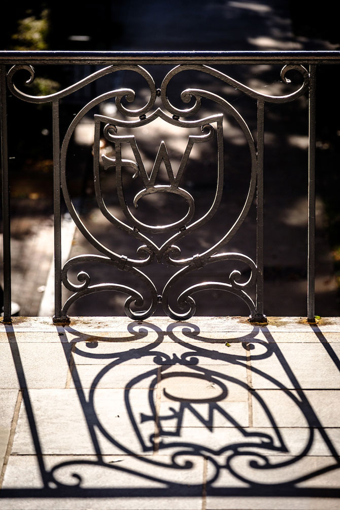 Ironwork on campus near Manchester Hall, on the campus of Wake Forest University