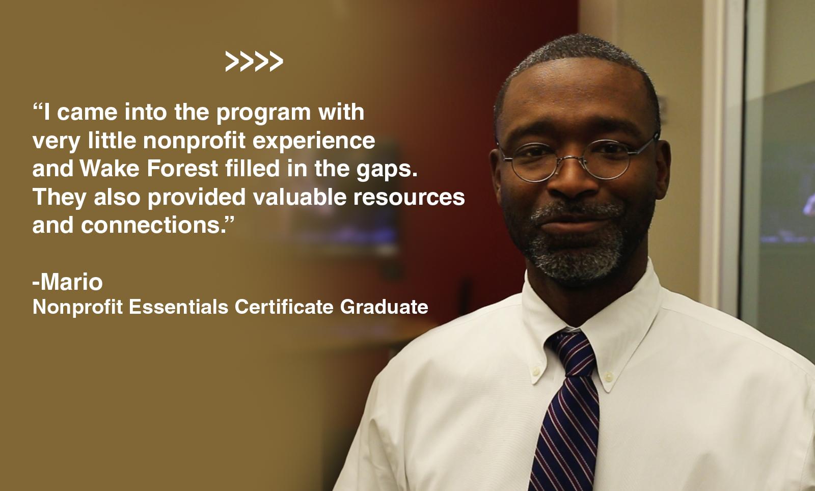 Nonprofit Essential Certificate Graduate, Mario