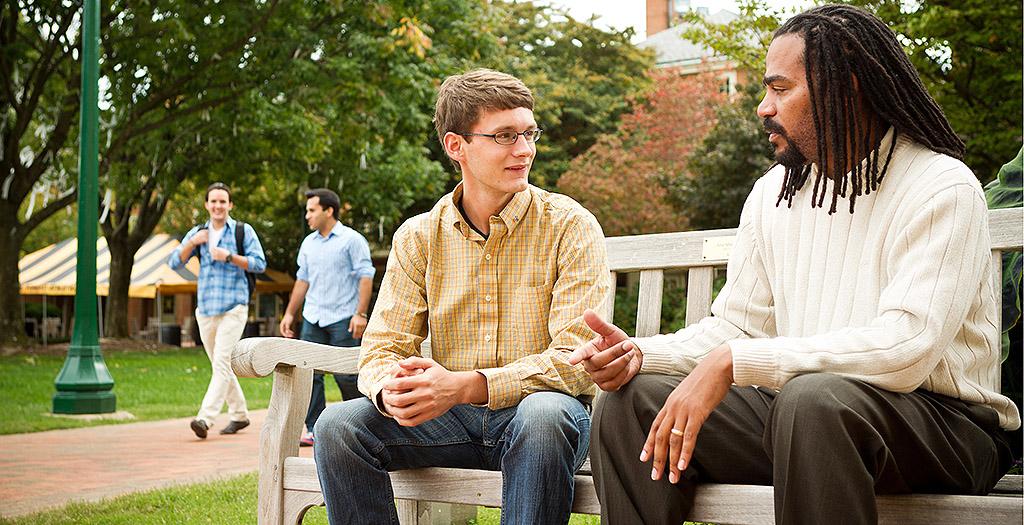 Nate French talks to Joe Belangia ('14)