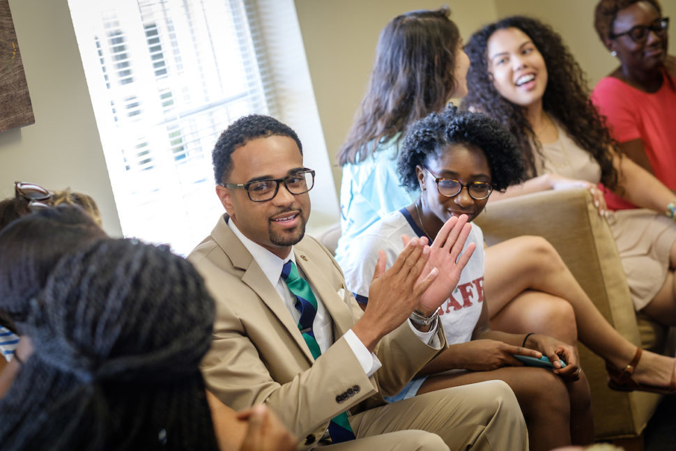Image of Dr. Jonathan McElderry speaking to students at the Intercultural Center.