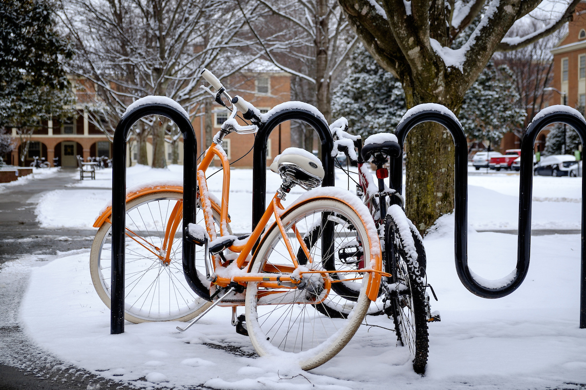 Bicycle stand in snow