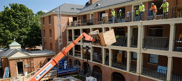 Construction continues on phase one of the renovation of Poteat Residence Hall.