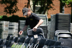 setting up rows of chairs