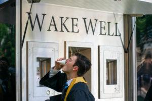 gulping down wake well water