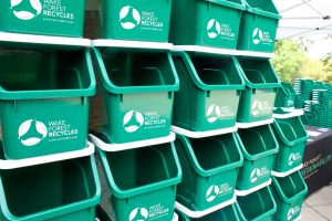 recycling bins stacked
