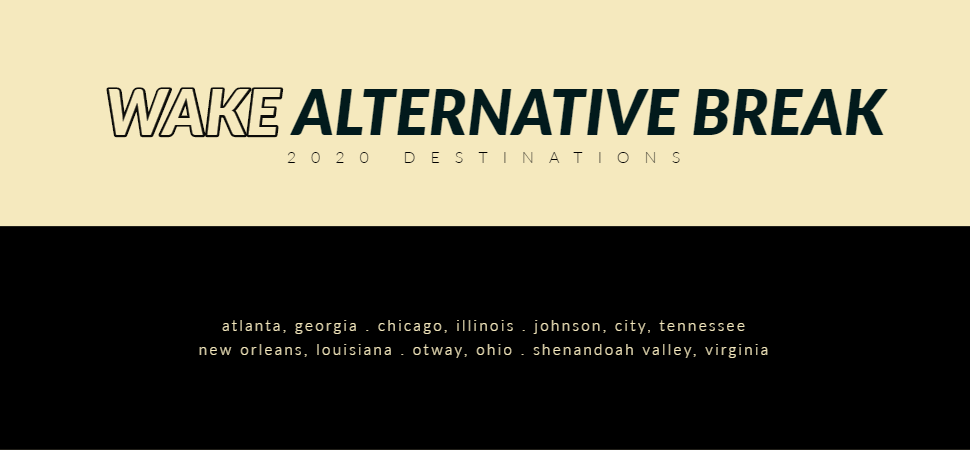 Wake Alternative Break 2020 Destinations Graphic