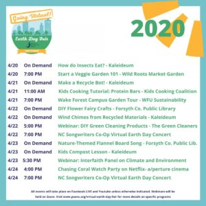 PEA Earth Day Fair Schedule of Events 2020