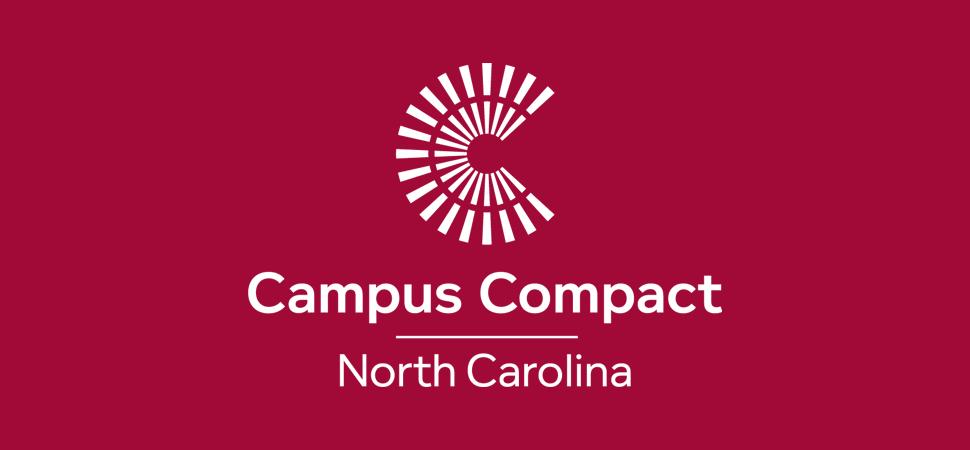 North Carolina Campus Compact Logo on burgundy background