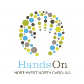 HandsOn Northwest North Carolina Logo, features the silhouette of a hand surrounded by green, teal, and brown dots