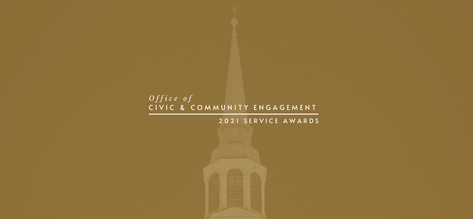 Office of Civic & Community Engagement 2021 Service Awards in front of Wait Chapel with gold overlay