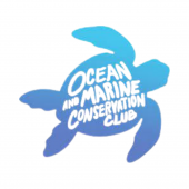 """The Ocean and Marine Conservation Club Logo: features a blue turtle over a gray background with """"Ocean and Marine Conservation Club"""" written over its shell."""