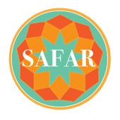 Student Association for the Advancement of Refugees (SAFAR) overtop a light orange, dark orange, and teal mosaic pattern