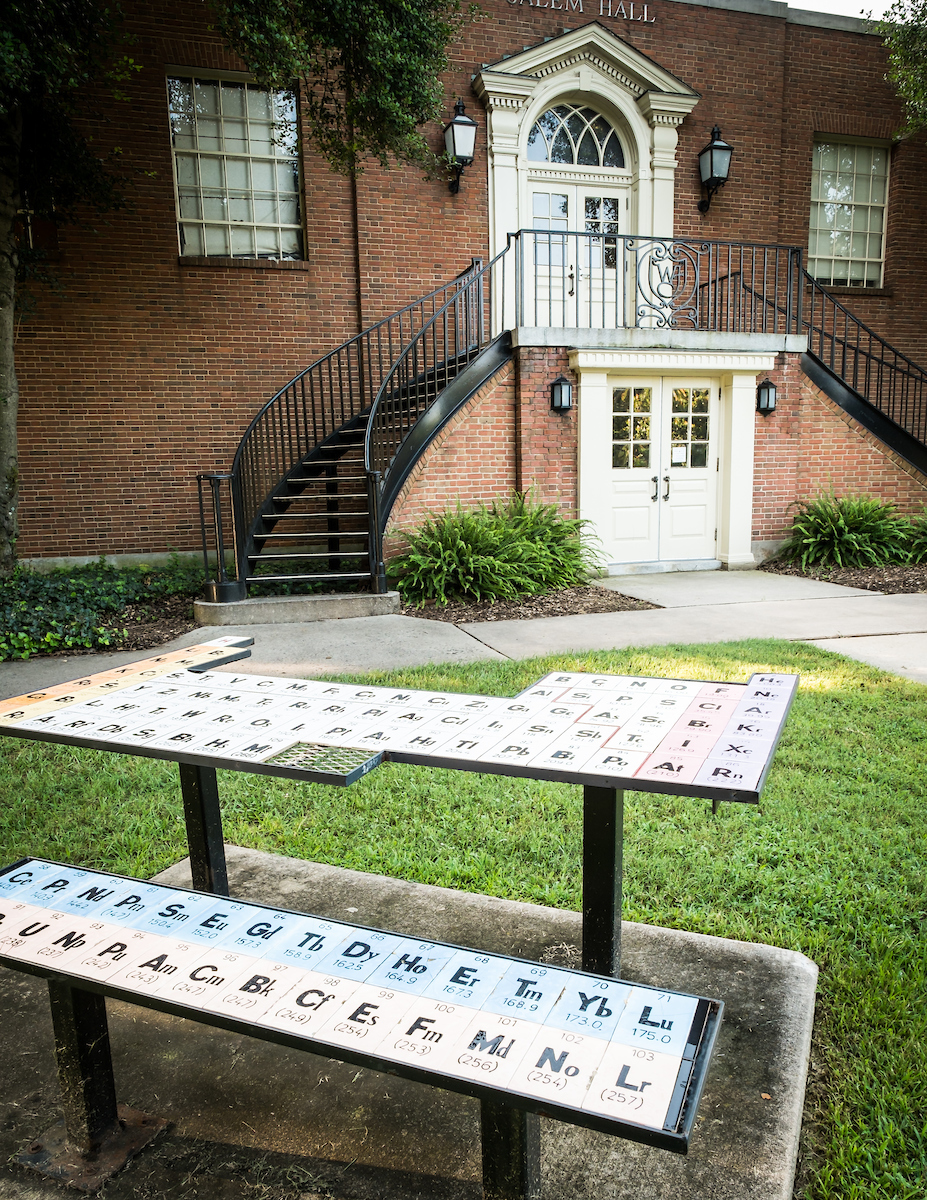 The Periodic Table, a public art installation outside Salem Hall on the campus of Wake Forest University, Thursday, July 25, 2013.