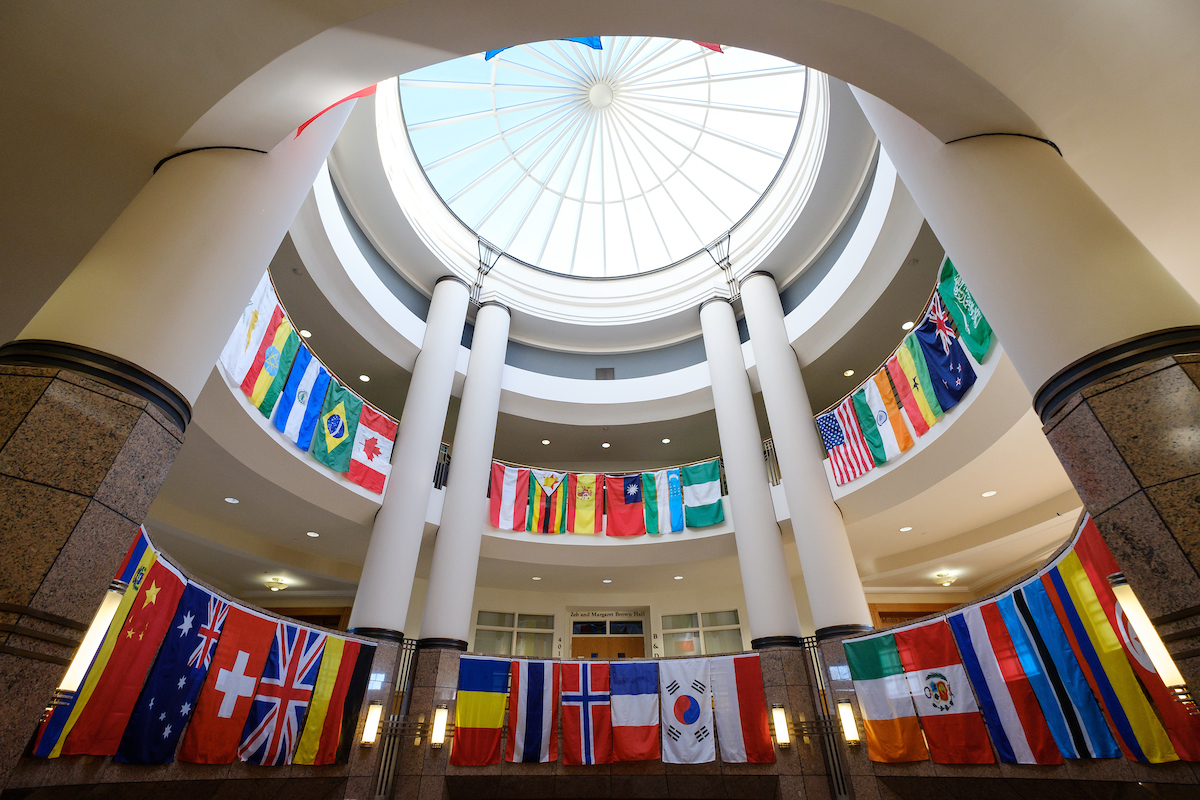 Flags from many nations hang in the atrium of the Benson Center on the campus of Wake Forest University on Monday, February 20, 2017.