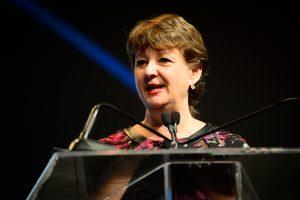 Mary Lynn Redmond giving a speech.