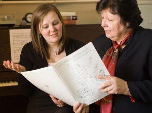 Susan Borwick with student.