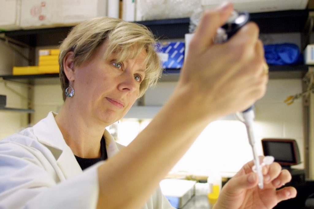Wake Forest University biology professor Dr.Kathy Kron pipettes liquid into a small holder.