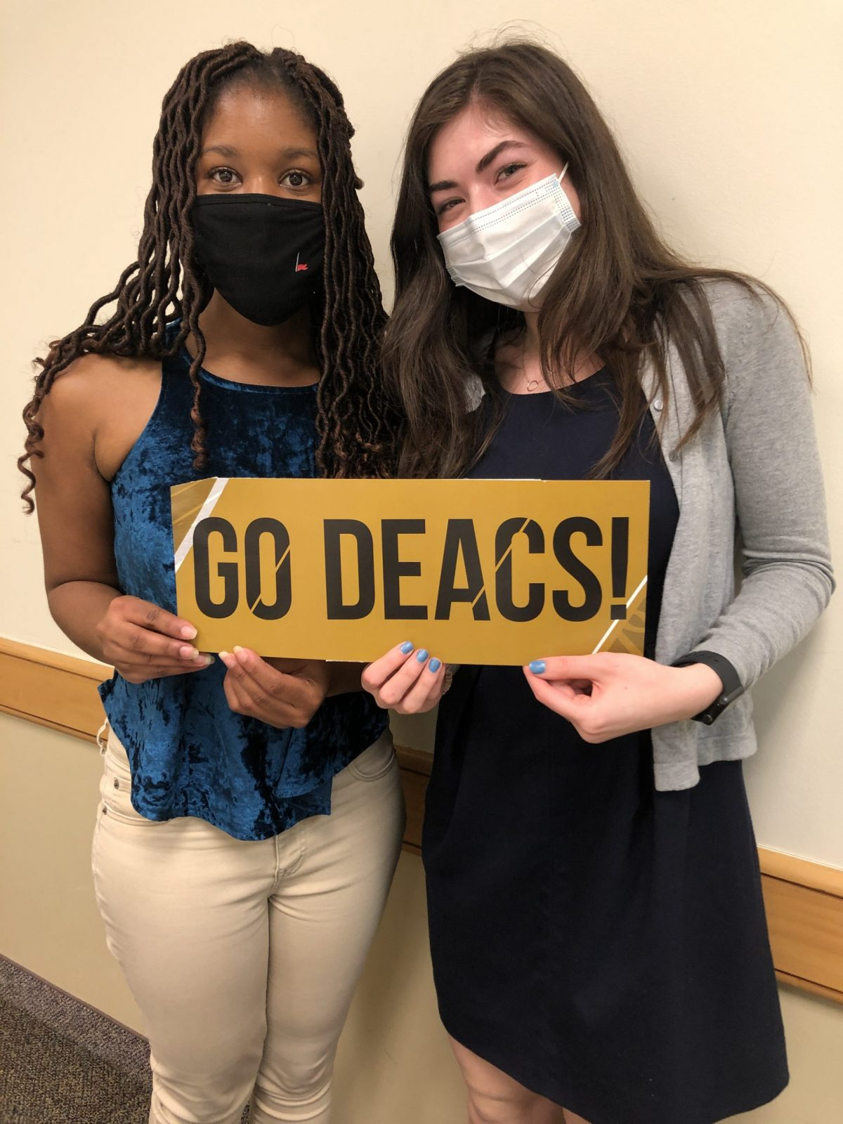 Brianna Aaron ('22) and Ruby Klein ('21) after Wake Debate's 4th ACC Tournament win in April 2021.